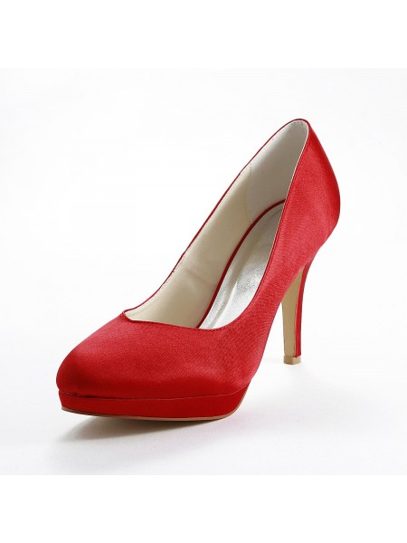 The Most Stylish Women's Satin Stiletto Heel Pumps Red Wedding Shoes