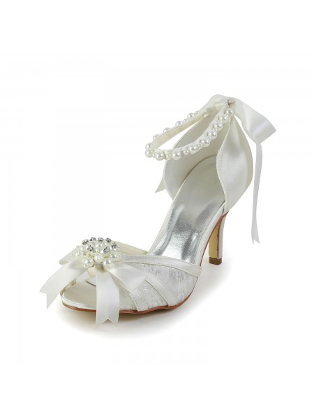 The Most Trendy Women's Satin Stiletto Heel Sandals Dance Shoes Pearl