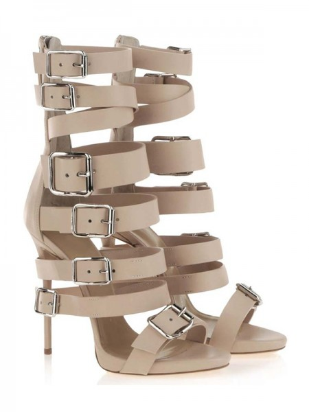 Fashion Trends Women's Stiletto Heel Suede Peep Toe Platform With Buckle Sandal Mid-Calf Champagne Boots