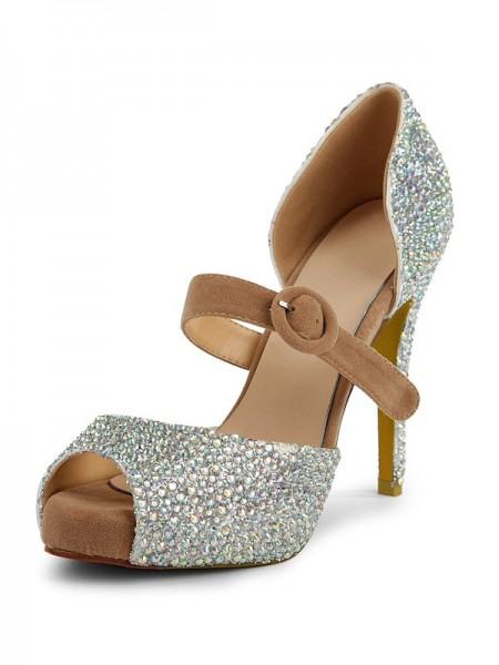 The Most Trendy Women's Suede Peep Toe Stiletto Heel Platform With Rhinestone Platforms Shoes