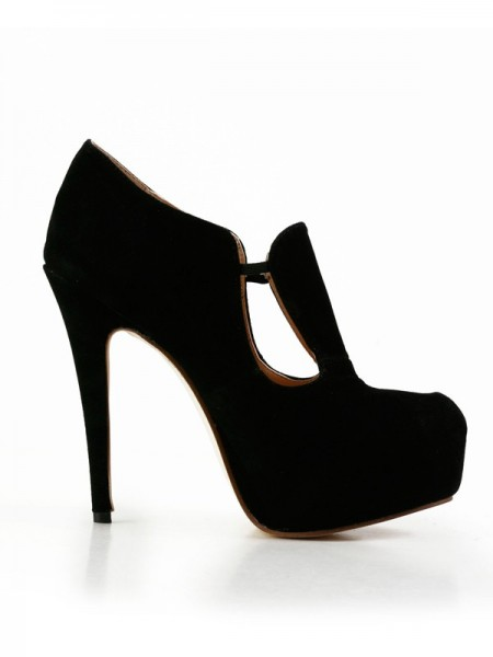 The Most Fashionable Women's Stiletto Heel Suede Closed Toe Platform High Heels