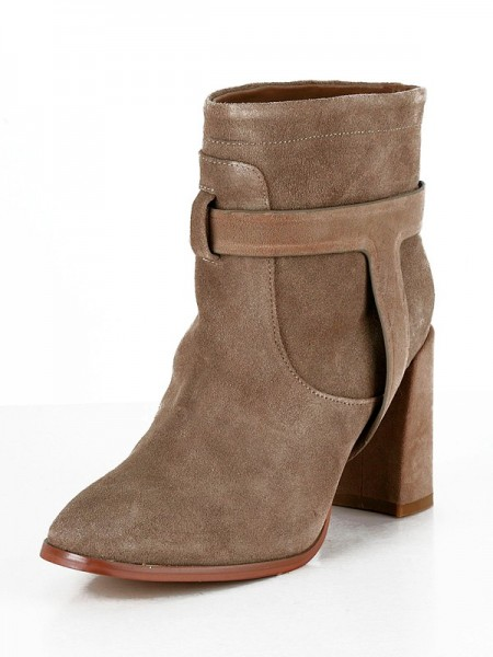The Most Trendy Women's Suede Chunky Heel Closed Toe Booties/Ankle Brown Boots