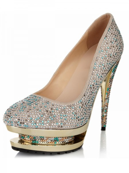 The Most Trendy Women's Closed Toe Stiletto Heel Suede Platform With Rhinestone High Heels