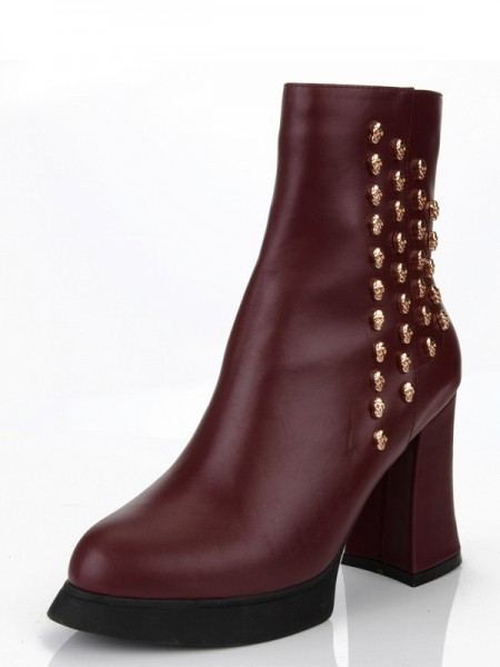 The Most Stylish Women's Chunky Heel Cattlehide Leather With Rivet Platform Burgundy Booties
