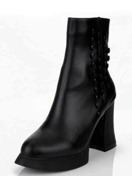 The Most Stylish Women's Cattlehide Leather Chunky Heel With Rivet Platform Black Booties