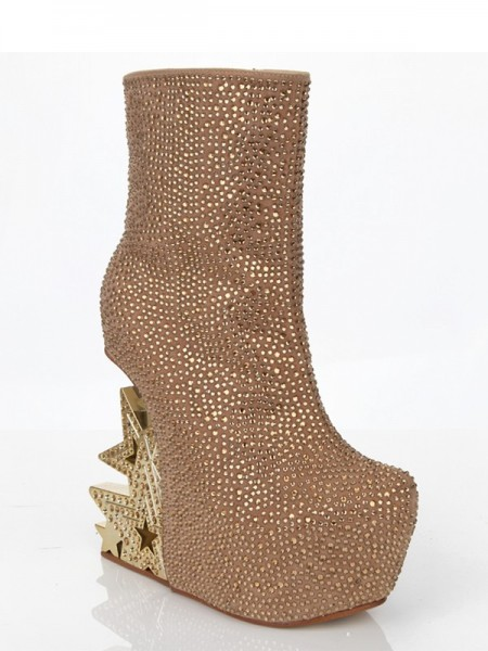 The Most Fashionable Women's Suede Wedge Heel With Rhinestone Platform Mid-Calf Gold Boots