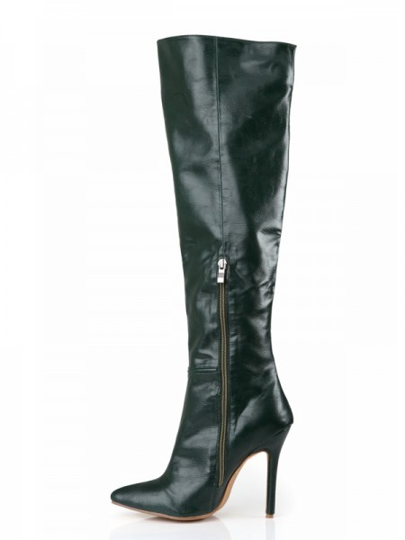 The Most Fashionable Women's Cattlehide Leather Stiletto Heel Closed Toe Knee High Hunter Green Boots