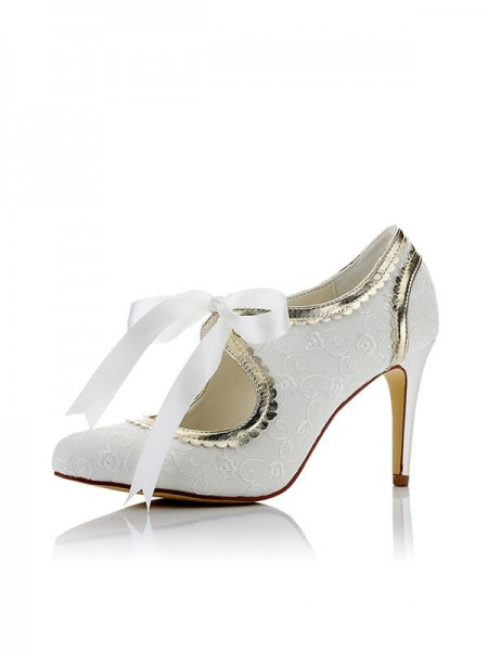 Stylish Satin PU Closed Toe Stiletto Heel Wedding Shoes For Women