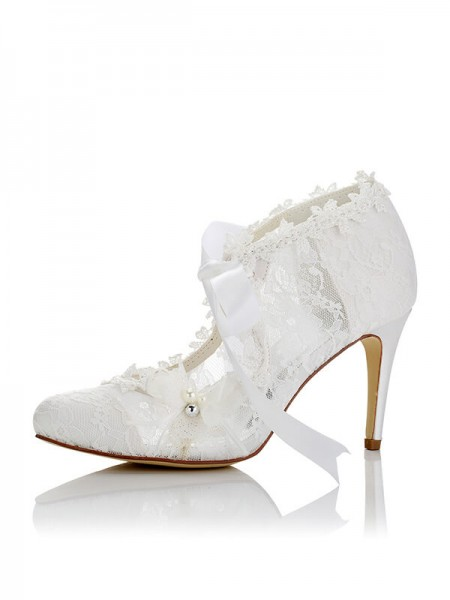 Fashion PU Closed Toe Stiletto Heel Wedding Shoes For Women