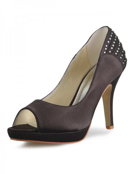 The Most Stylish Women's Satin Cone Heel Platform Peep Toe With Rhinestone Platforms Shoes