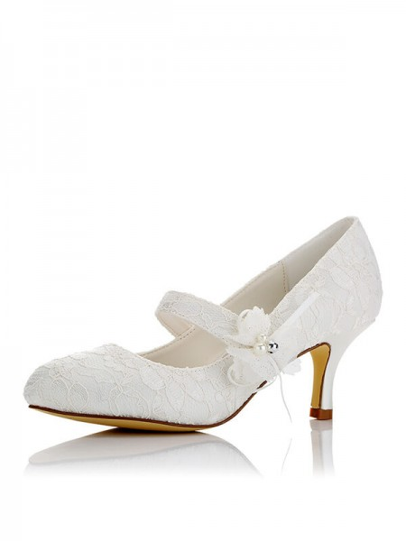 Stylish Satin PU Closed Toe Spool Heel Wedding Shoes For Women