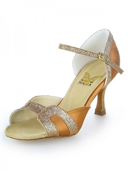 The Most Stylish Women's Stiletto Heel Satin Peep Toe Sparkling Glitter Dance Shoes