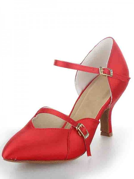 The Most Fashionable Women's Stiletto Heel Satin Closed Toe Buckle Dance Shoes