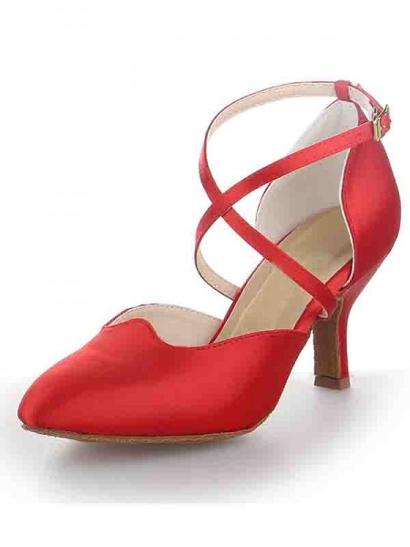 The Most Fashionable Women's Satin Stiletto Heel Close Toe Buckle Dance Shoes