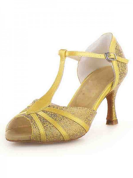 The Most Fashionable Women's Peep Toe Stiletto Heel Satin Buckle Sparkling Glitter Dance Shoes