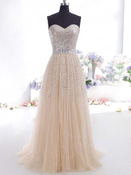 Fashion A-Line/Princess Tulle Sleeveless Sweetheart Floor-Length Dresses