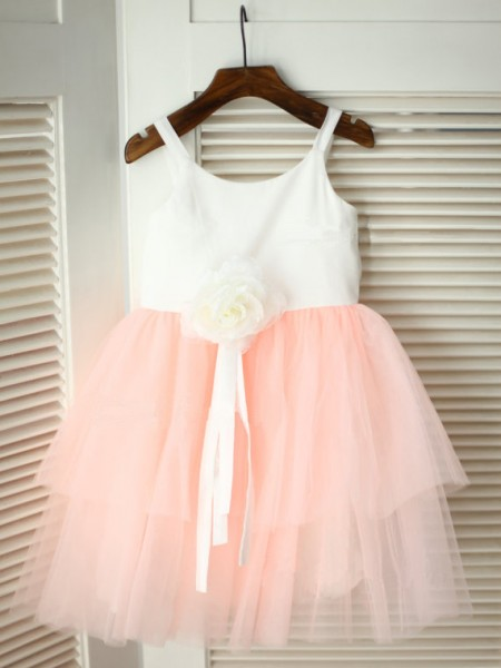The Most Stylish A-line/Princess Spaghetti Straps Sleeveless Hand-made Flower Long Tulle Flower Girl Dresses