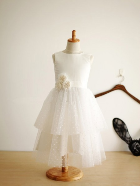 The Most Fashionable A-line/Princess Jewel Sleeveless Hand-Made Flower Long Tulle Dresses
