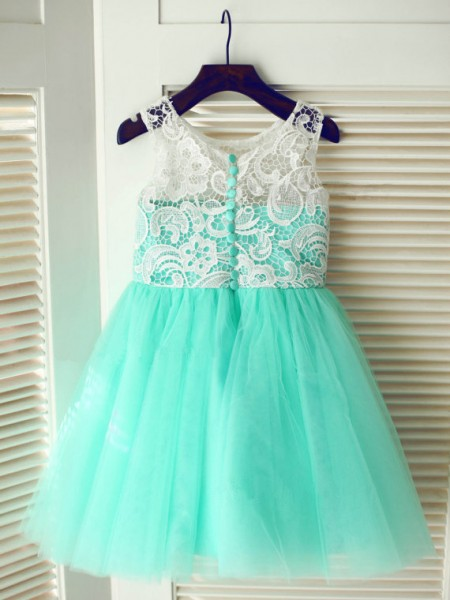 The Most Trendy A-line/Princess Scoop Sleeveless Lace Long Tulle Dresses