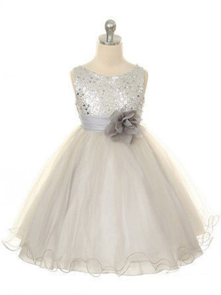 The Most Trendy Ball Gown Jewel Sleeveless Hand-Made Flower Long Organza Dresses
