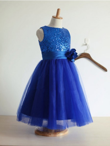 Fashion Trends A-line/Princess Jewel Sleeveless Hand-Made Flower Tulle Long Dresses
