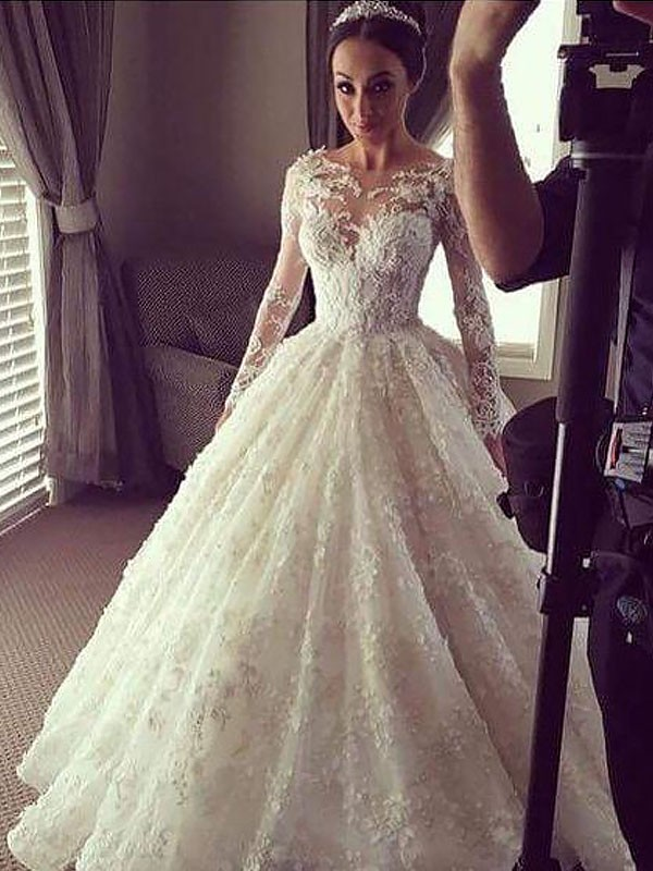 China Arabic Wedding Ball Gowns Beaded Luxury Lace Wedding Dress